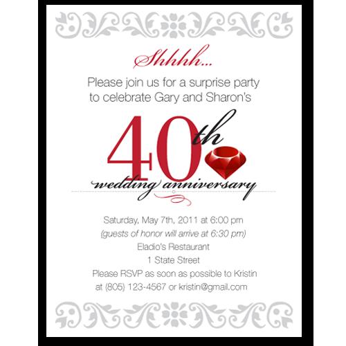 Wedding Anniversary Program Ideas: 40th Wedding Anniversary Program
